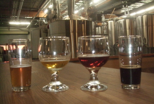 Beers and brewhouse at Societe Brewing, San Diego CA.