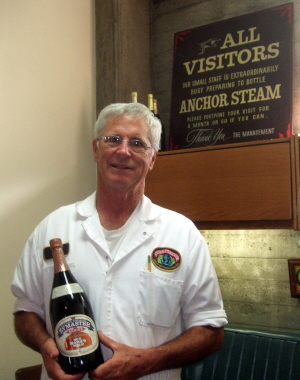Anchor head brewer Mark Carpenter at the brewery, October 2012, with a magnum of Mark's Mild.