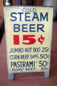 Steam beer in old prices, Anchor brewery, San Francisco.