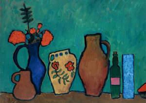 Gabriele Münter (1877-1962), Stillleben mit Vase, Flaschen und Zweigen eines Vogelbeerbaumes (Still life with vases, bottles and rowan branch), 1908/09. Did any of these vessels contain beer?