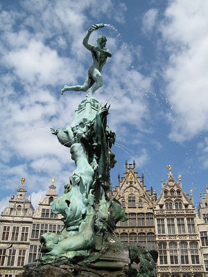 The Brabo fountain outside the Stadhuis on the Grote Markt in Antwerp, Belgium. Note the water-spouting severed hand.