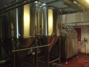 Brains Craft Brewery's own fermentation vessels, two cylindroconicals and a square. Brabo is destined for the middle vessel.