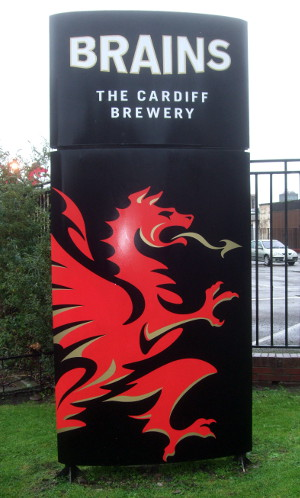 Y ddraig goch welcomes you to Brains brewery in Cardiff.