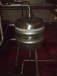 Not a prop from a 1950s science fiction film but the underback at Brains Craft Brewery, made from an old keg.