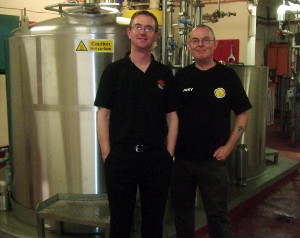 Brains head brewer Bill Dobson (left) with the author in front of the Brains Craft Brewery, Cardiff, Wales.