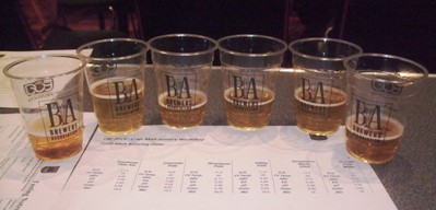 Six pale ales from different malts: left to right, Colorado, Grouse Millet, Frontenac, Riverbend, Valley, Maris Otter.