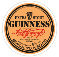 Vintage Guinness London label. Note the small print crediting the bottler, in this case Bass Charrington.