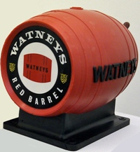 A once-familiar bar mount for Watney's notorious keg bitter Red Barrel.