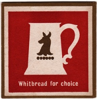 Whitbread's well-known tankard logo on a beermat. The slogan might have rung hollow with fans of breweries that fell under the baleful shadow of the 'Whitbread umbrella'.