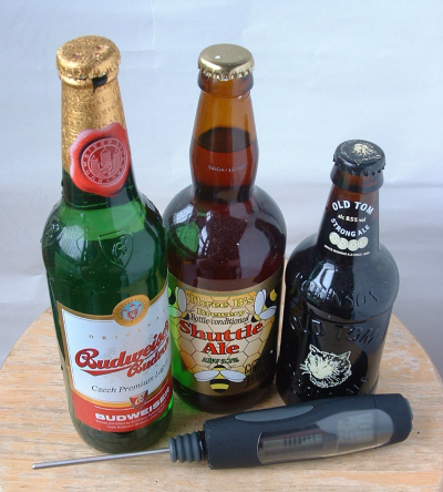 Budweiser Budvar, Three B's Shuttle Ale and Robinson's Old Tom face the temperature test.
